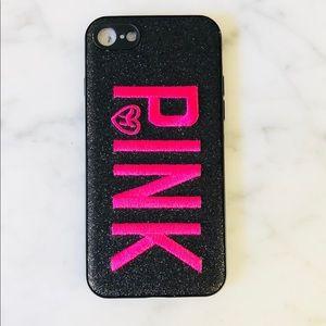 PINK Black Glitter Case